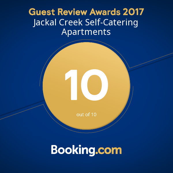 Booking.com Jackal Creek Self Catering Guest review Award 2017