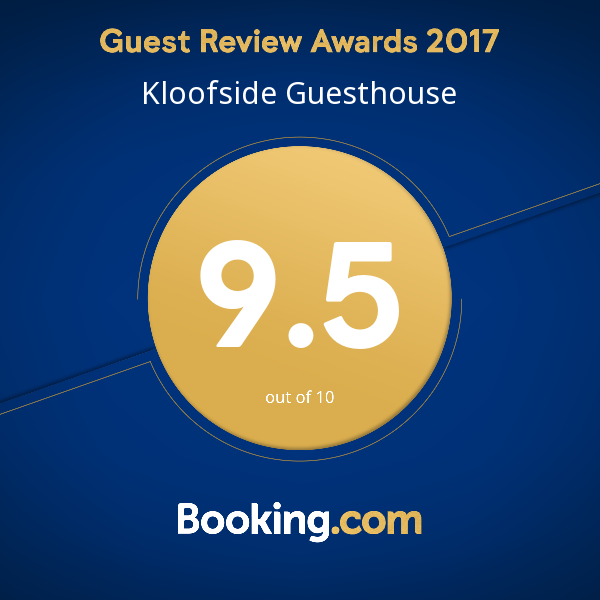 Booking.com Kloofside Guesthouse Guest review Award 2017