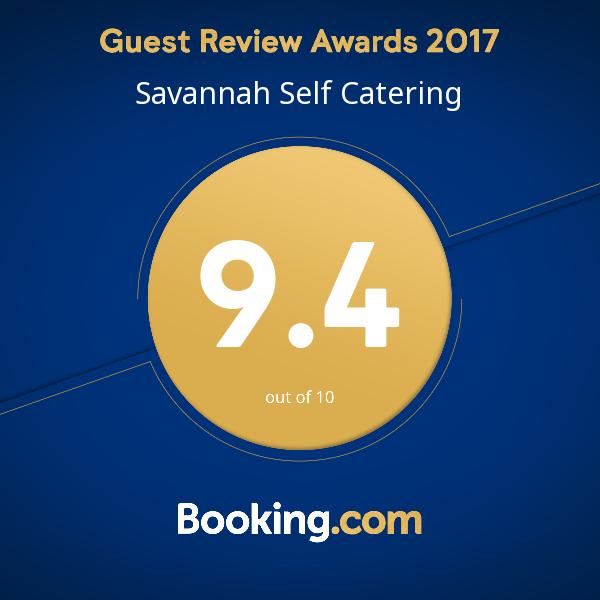 Booking.com Savannah Self Catering Guest review Award 2017